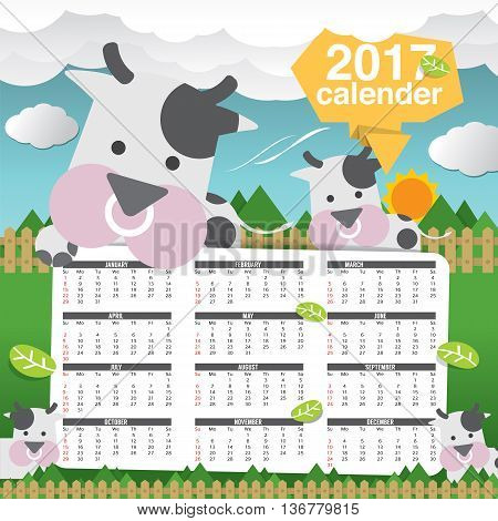 2017 Printable Calendar Starts Sunday Cute Cow Vector Illustration. EPS 10