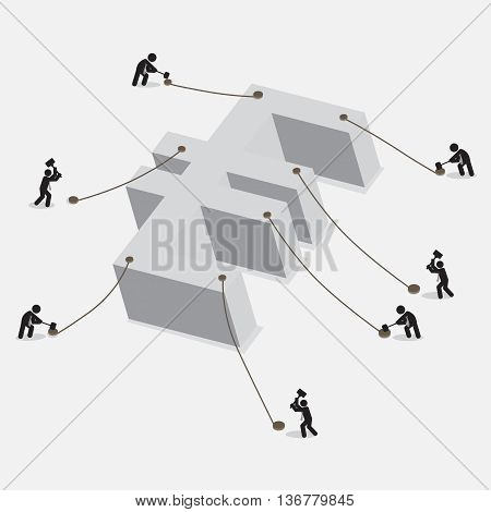People Pegging On Euro Currency Sign The Euro Currency Freeze Concept Vector Illustration. EPS 10