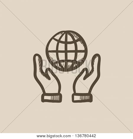 Two hands holding globe vector sketch icon isolated on background. Hand drawn Two hands holding globe icon. Two hands holding globe sketch icon for infographic, website or app.