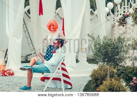 Independence Day Couple With Flag