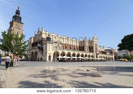 KRAKOW; POLAND - JUNE 26; 2016.Cloth Hall on Main Market Square in sunny day. Krakow Cloth Hall dates to the Renaissance is one of the city's most recognizable place. It is listed as a UNESCO World Heritage Site since 1978.