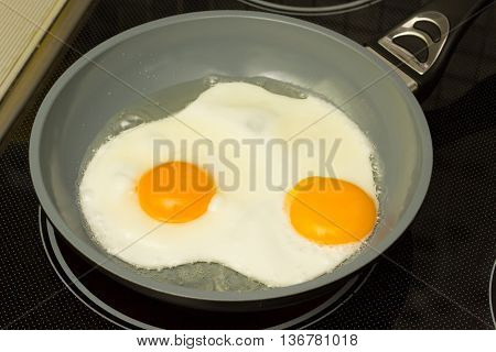 Breakfast. Cooked two eggs and spices ready for eating