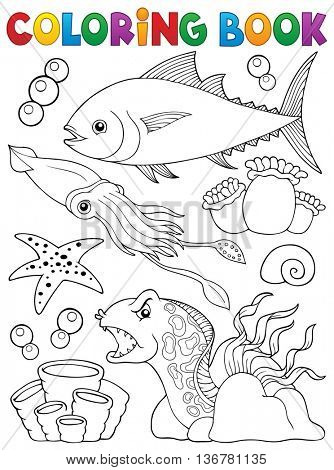 Coloring book marine life theme 1 - eps10 vector illustration.