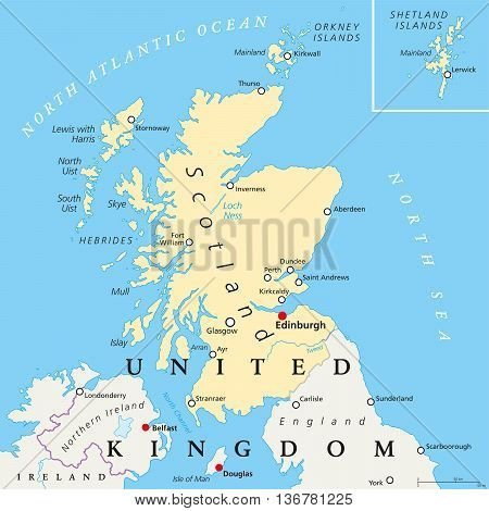 Scotland political map with capital Edinburgh, national borders and cities. Part of the United Kingdom, covers the northern third of the island of Great Britain. English labeling and scaling. Vector