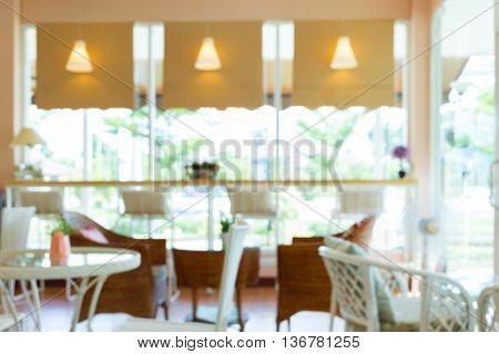Blur Cafe Background, Interior Decoration Cafe Coffee Shop With White Furniture