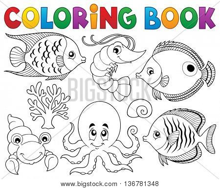 Coloring book marine life theme 2 - eps10 vector illustration.