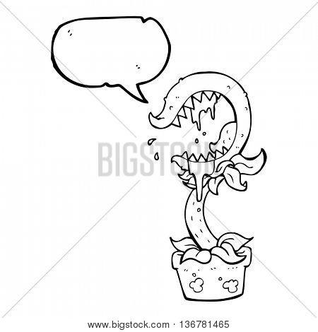 freehand drawn speech bubble cartoon carnivorous plant
