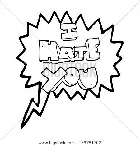 I hate you freehand drawn speech bubble cartoon symbol