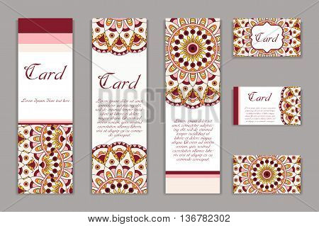 Invitation mandala design template. Graphic card with hand drawn ornament. Colorful eastern floral decor for greetings wedding invitations party cards