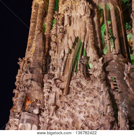 Detail Of Sagrada Familia At Night