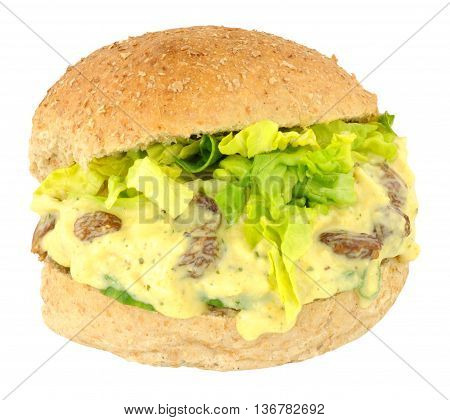 Coronation chicken filled sandwich bread roll isolated on a white background