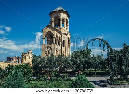 Tbilisi Georgia - July 18 2015. Bell tower located next of Holy Trinity Cathedral main cathedral of the Georgian Orthodox Church in Georgia