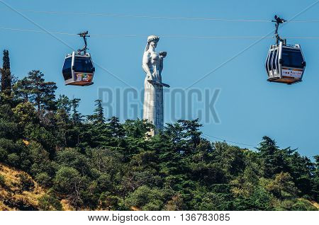 Tbilisi Georgia - July 18 2015. Mother of the Georgians statue on Sololaki hill