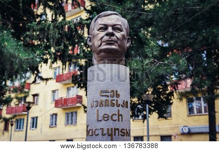 Tbilisi Georgia - July 18 2015. The bust of former president of Poland Lech Kaczynski