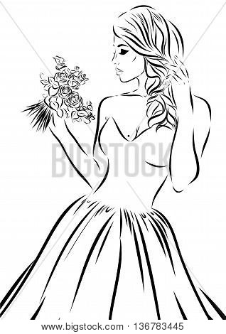 Wedding scetch. Bride on a white background. Vector illustration