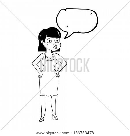 freehand drawn speech bubble cartoon woman with hands on hips