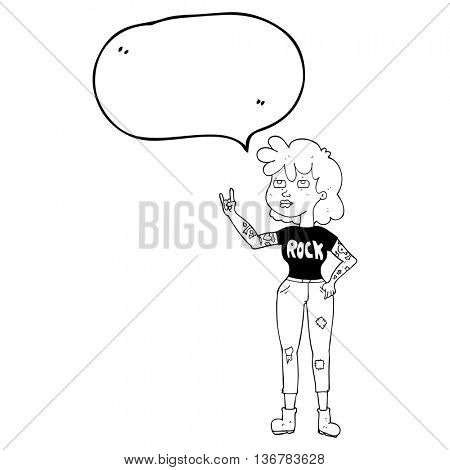 freehand drawn speech bubble cartoon rocker girl