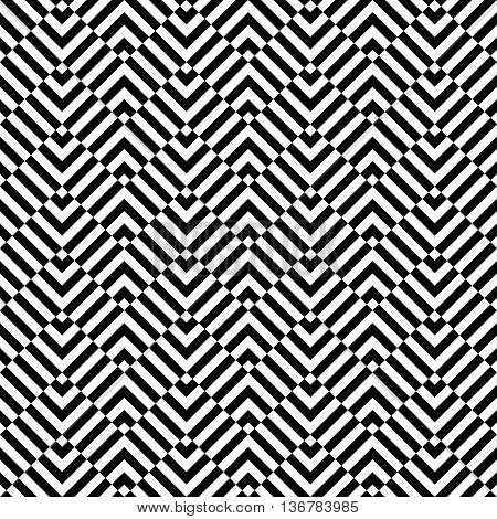 Seamless background pattern. Chevron pattern with geometric abstract elements. Simply balck and white pattern.