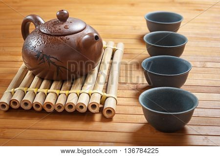 Tea Set On A Wooden Table Made Of Bamboo