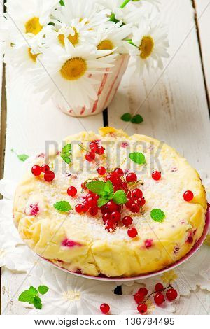 Cottage cheese red currant pie. Style rustic. selective focus