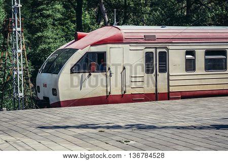 Borjomi Georgia - July 22 2015. Old train on railway station in Borjomi city