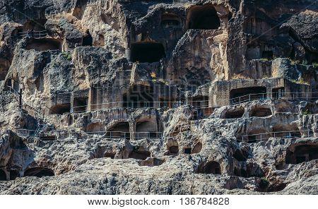 Samtskhe-Javakheti region Georgia - July 22 2015. View of Vardzia cave monastery site from 12th century in southern Georgia