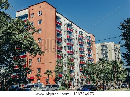 Zugdidi Georgia - July 23 2015. House of flats in Zugdidi