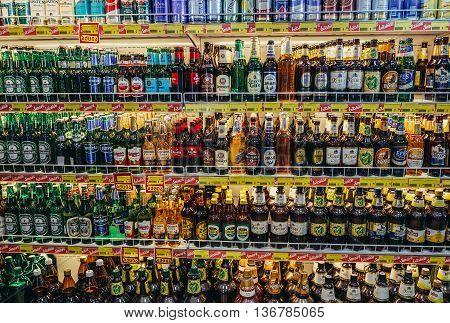 Zugdidi Georgia - July 23 2015. Bottles of alcohol in shop at Wissol gas station in Zugdidi
