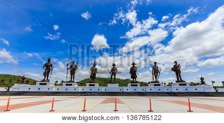 Hua Hin ,thailand-june 11,2016 :ratchapak Park And The Statues Of Seven Former Thai Kings Were Const