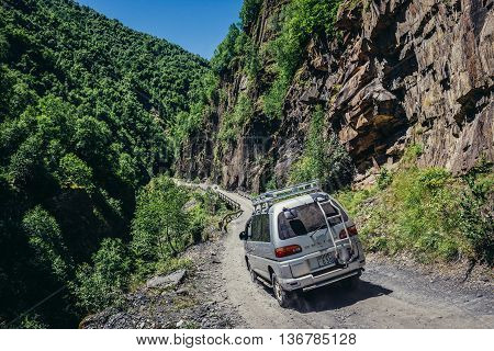 Upper Svanetia Georgia - July 24 2015. Mitsubishi delica car for tourist trips on the road from Mestia to Ushguli in Svaneti region