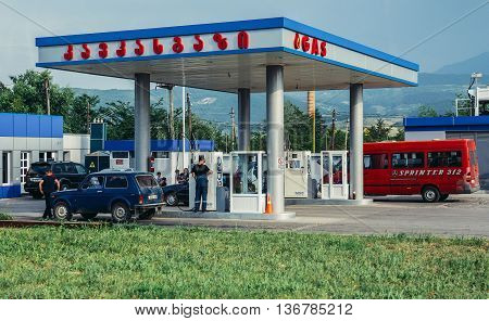 Georgia - July 25 2015. Drivers refuels at the gas station in Georgia