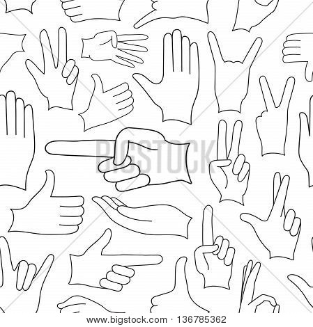 Human Hand signs icons set pattern, different hands, gestures, signals and signs. Vector icon set