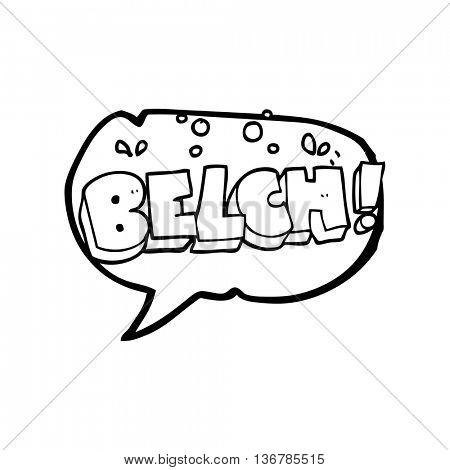 freehand drawn speech bubble cartoon belch text
