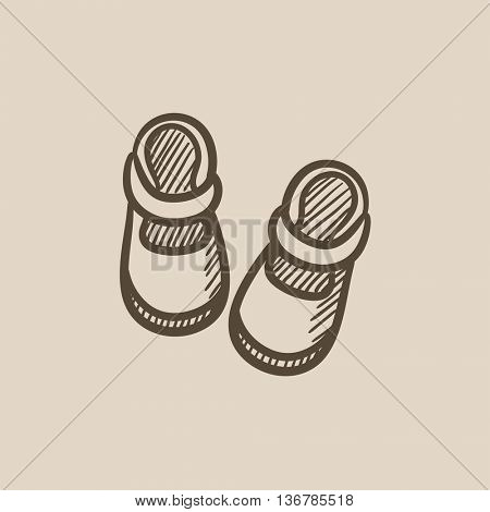Baby booties vector sketch icon isolated on background. Hand drawn Baby booties icon. Baby booties sketch icon for infographic, website or app.