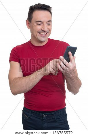 Smiling Man Text Messaging. Isolated