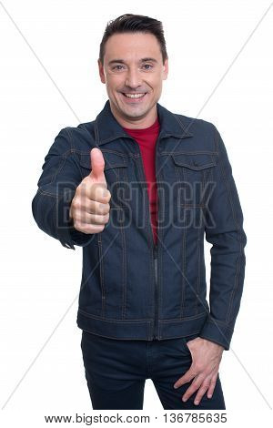 Trendy Handsome Young Man Showing His Thumb Up