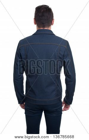 Back View Of Trendy Handsome Young Man Isolated