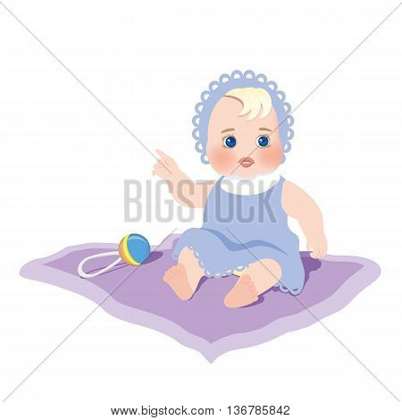 A child with the rattle. Vector illustration