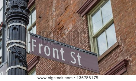 Street sign in South Street Seaport historic district of New York City America