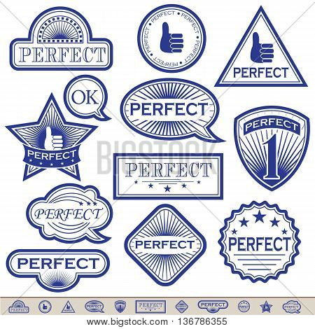Blue Labels said 'Perfect' . Vector illustration