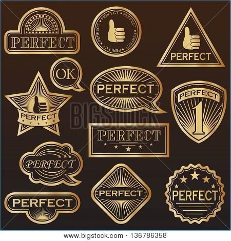 Gold Labels said 'Perfect' . Vector illustration