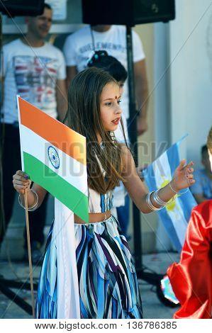 Montenegro, Herceg Novi - 04/06/2016: Girl in Indian saris. 10 International Children's Carnival