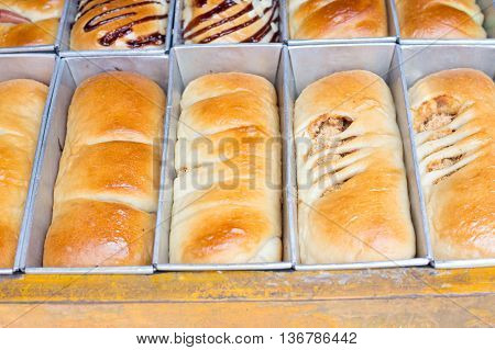 Fresh bread in tray for sale in the market