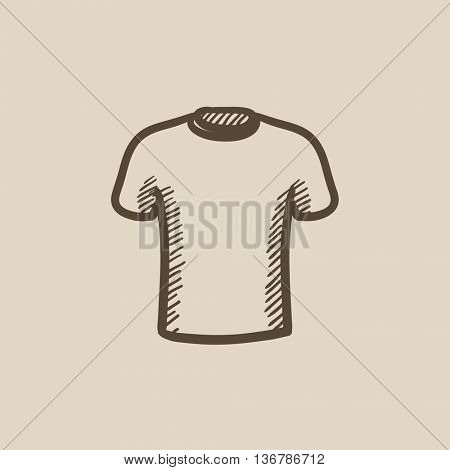 Male t-shirt vector sketch icon isolated on background. Hand drawn Male t-shirt icon. Male t-shirt sketch icon for infographic, website or app.