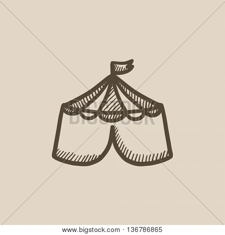 Circus tent vector sketch icon isolated on background. Hand drawn Circus tent icon. Circus tent sketch icon for infographic, website or app.