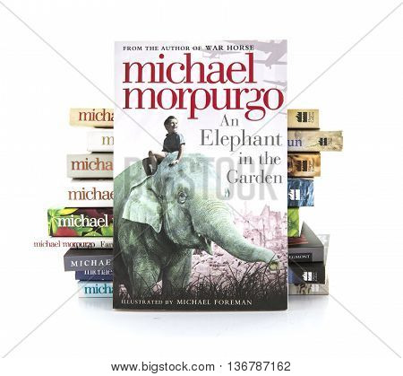 SWINDON UK - JULY 2 2016: An Elephant in the Garden by Michael Morpurgo on a white background