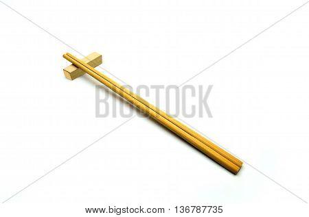 Wooden Chopsticks, Sushi Chopsticks Isolated On White Background