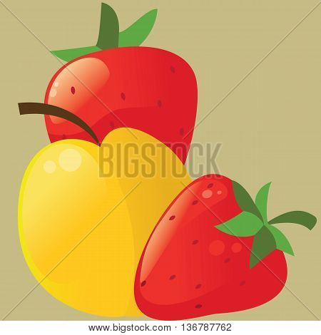 The Fruit icon - apple and strawberries