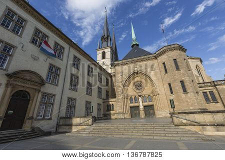 Luxembourg City - Luxembourg - July 01, 2016: Notre-dame Cathedral, Luxembourg Is The Roman Catholic