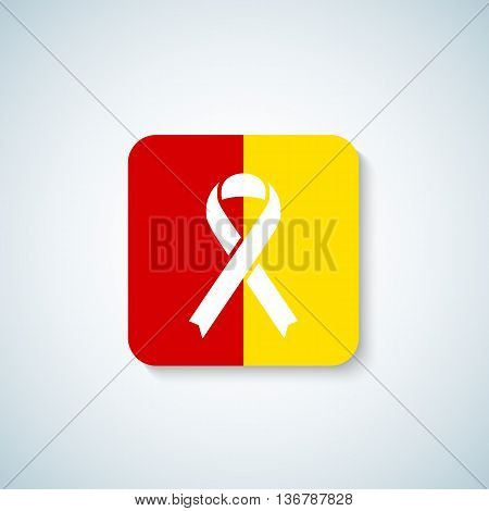 Hepatitis Day Ribbon Vector Icon, Sticker or Badge with Soft Shadow. Isolated.